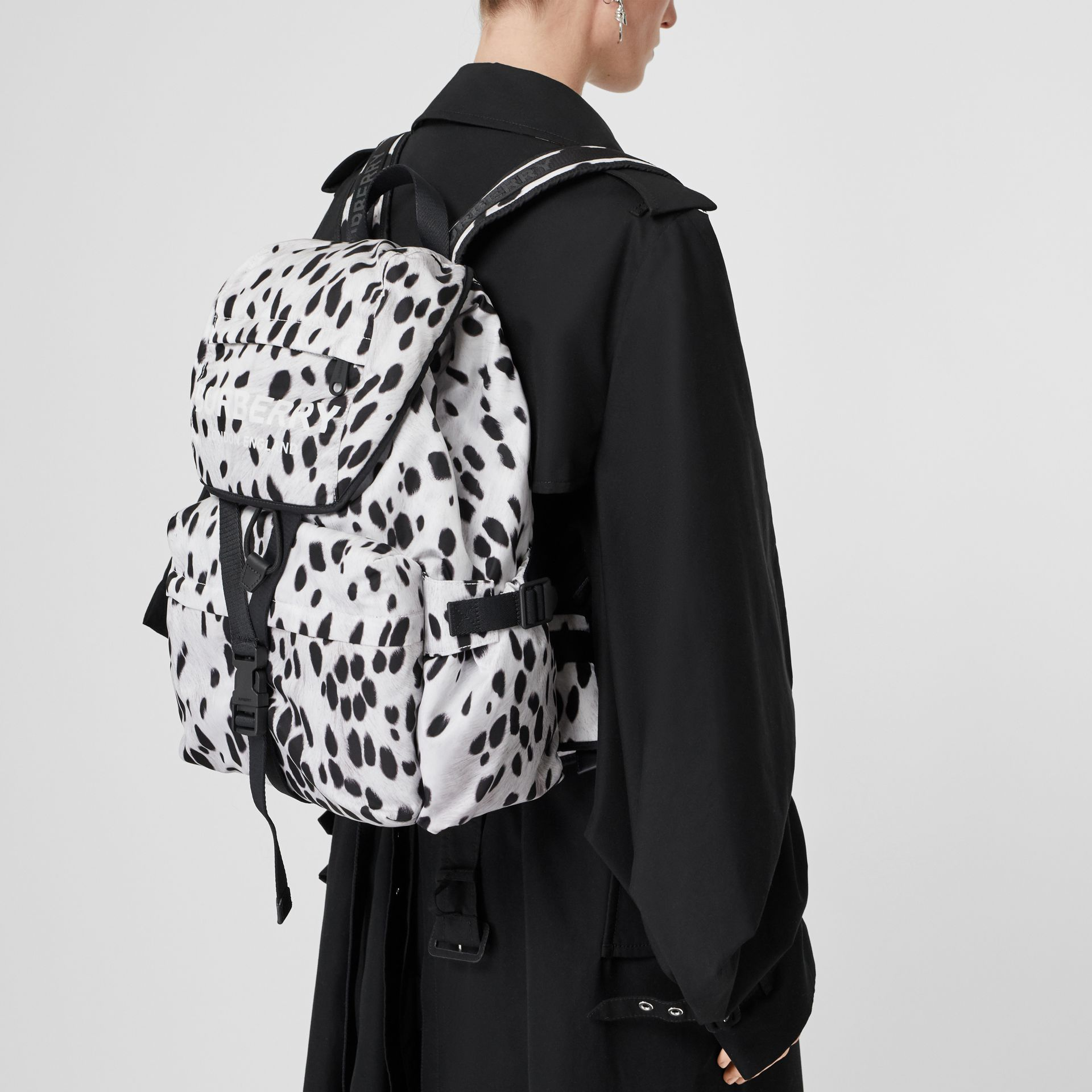 Logo and Dalmatian Print Nylon Backpack in Black - Women | Burberry United Kingdom - gallery image 2