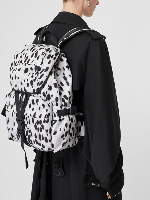 Logo and Dalmatian Print Nylon Backpack in Black - Women | Burberry Hong Kong S.A.R - cell image 2