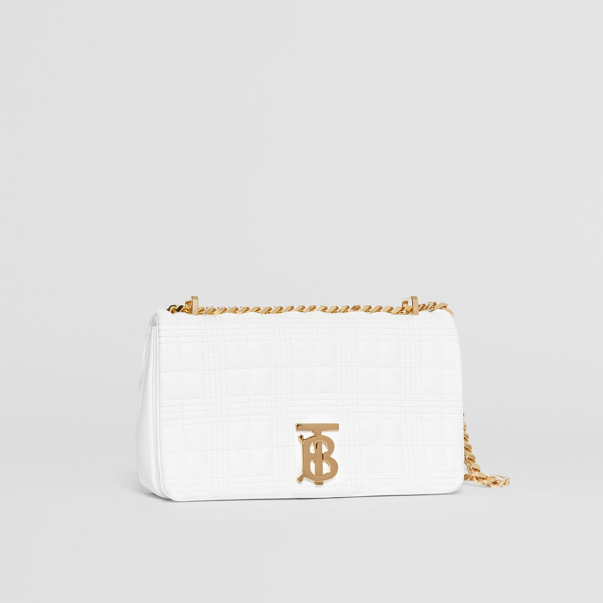 Small Quilted Check Lambskin Lola Bag in White | Burberry - gallery image 5