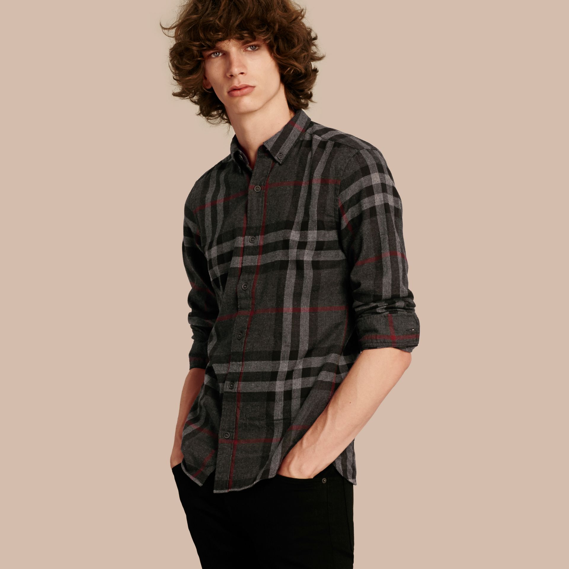 Charcoal Check Cotton Flannel Shirt Charcoal - gallery image 1