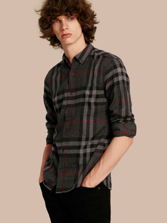 Check Cotton Flannel Shirt Charcoal