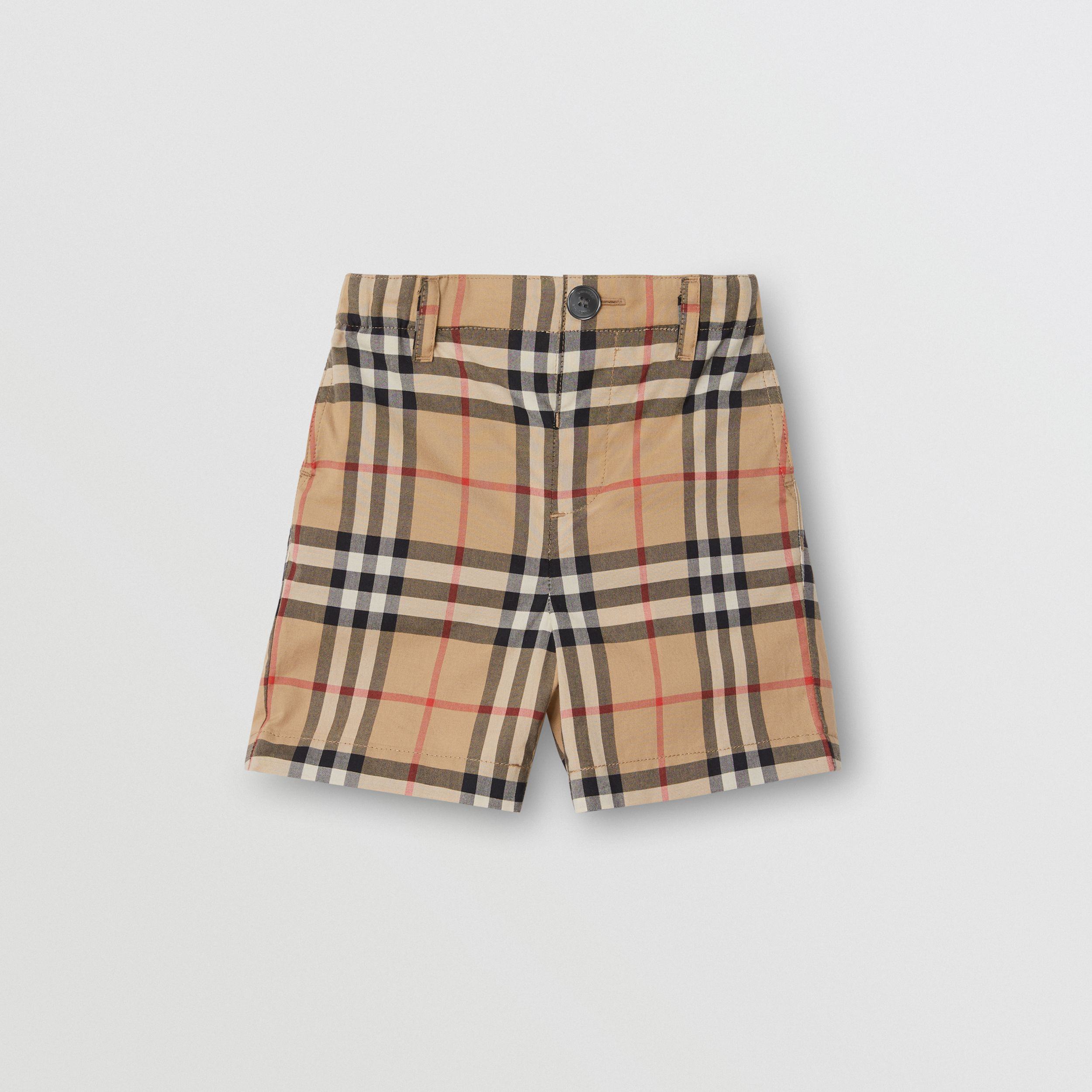 Vintage Check Cotton Poplin Tailored Shorts in Archive Beige - Children | Burberry - 1