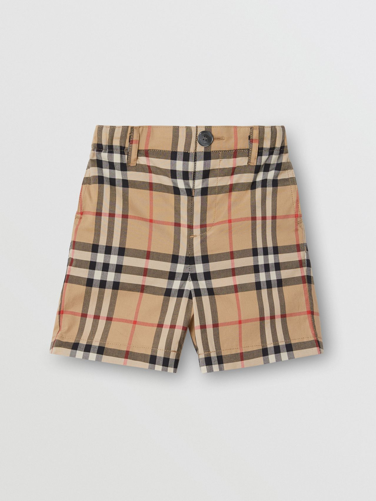 Vintage Check Cotton Poplin Tailored Shorts in Archive Beige