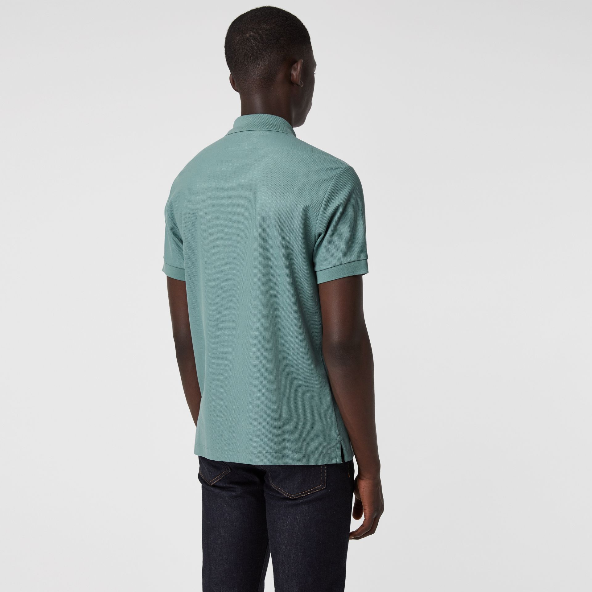 Archive Logo Cotton Piqué Polo Shirt in Dusty Teal - Men | Burberry Canada - gallery image 2