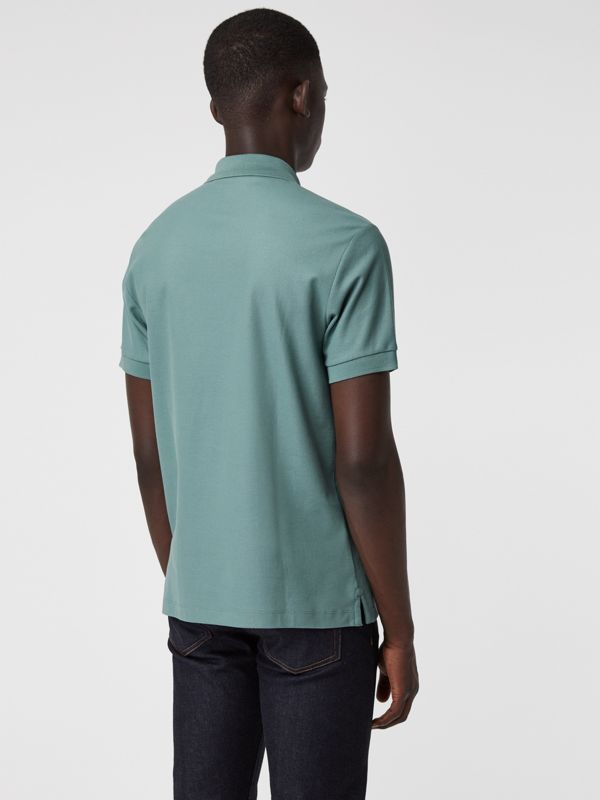Archive Logo Cotton Piqué Polo Shirt in Dusty Teal - Men | Burberry Canada - cell image 2