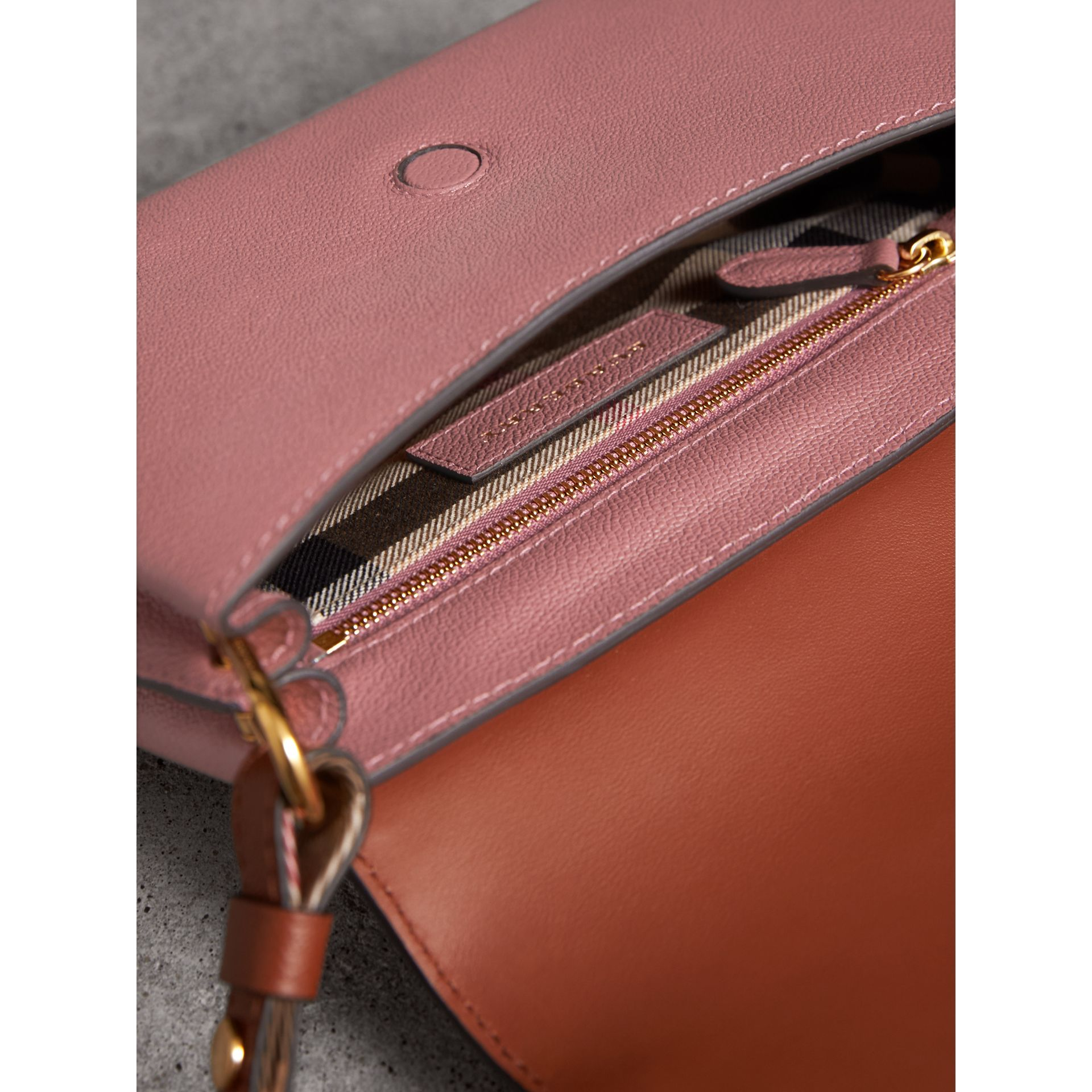 The Buckle Crossbody Bag in Trompe L'oeil Leather in Dusty Pink/bright Toffee - Women | Burberry - gallery image 5