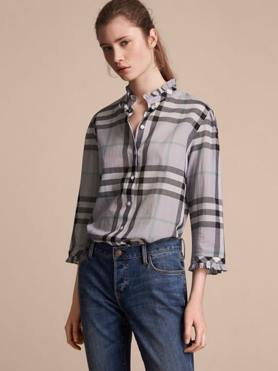 Ruffle Detail Check Cotton Shirt in Pale Lavender - Women | Burberry Singapore