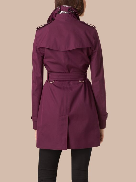 Bright burgundy Lightweight Cotton Gabardine Trench Coat - cell image 2