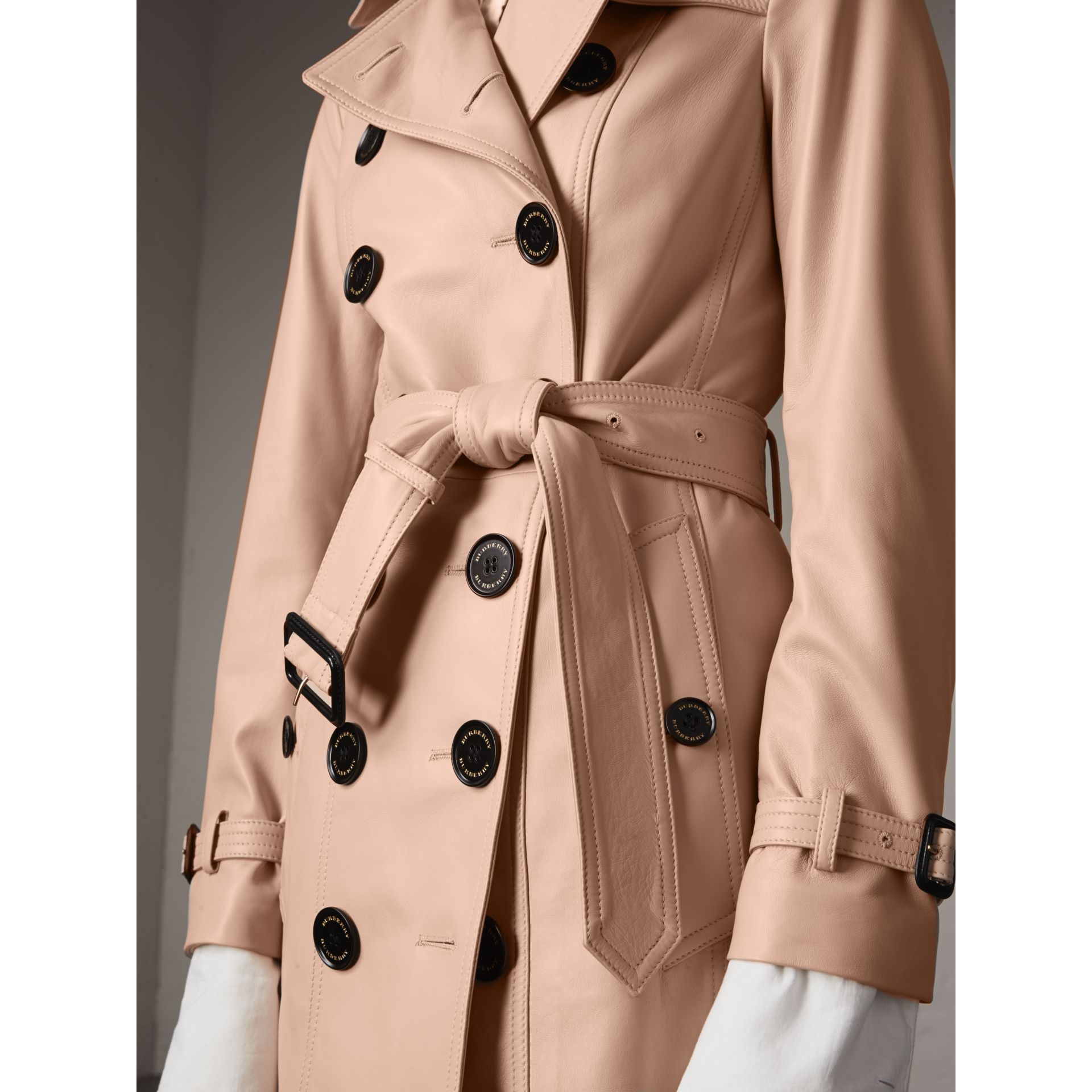 Lambskin Trench Coat in Pale Nude - Women | Burberry - gallery image 1