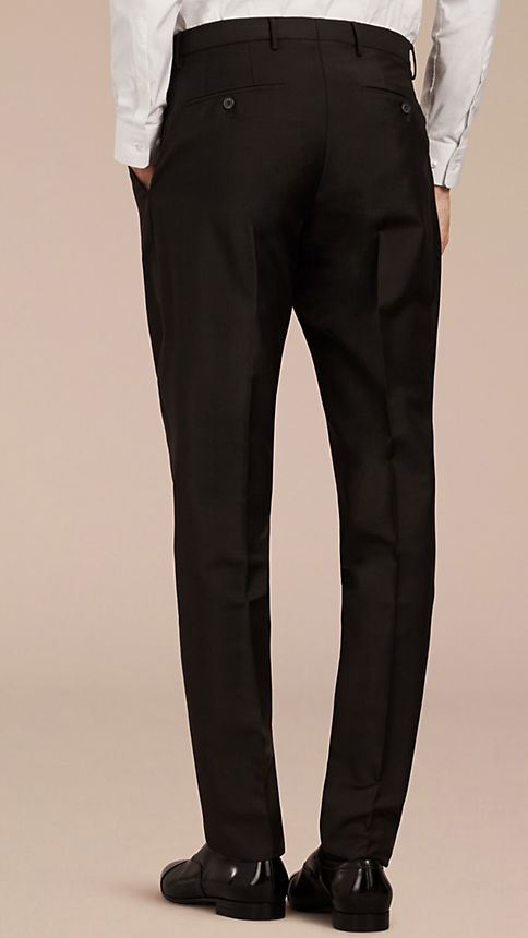 Black Modern Fit Wool Mohair Trousers Black - Image 2