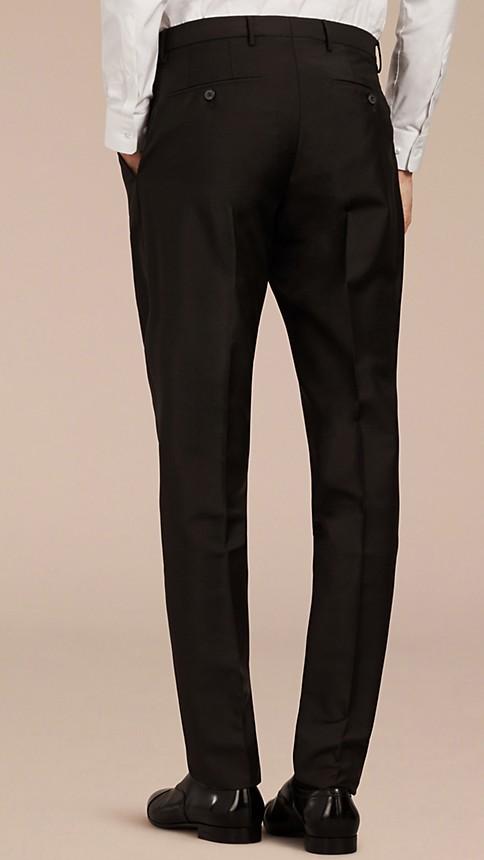 Noir Pantalon de coupe moderne en laine et mohair - Image 2