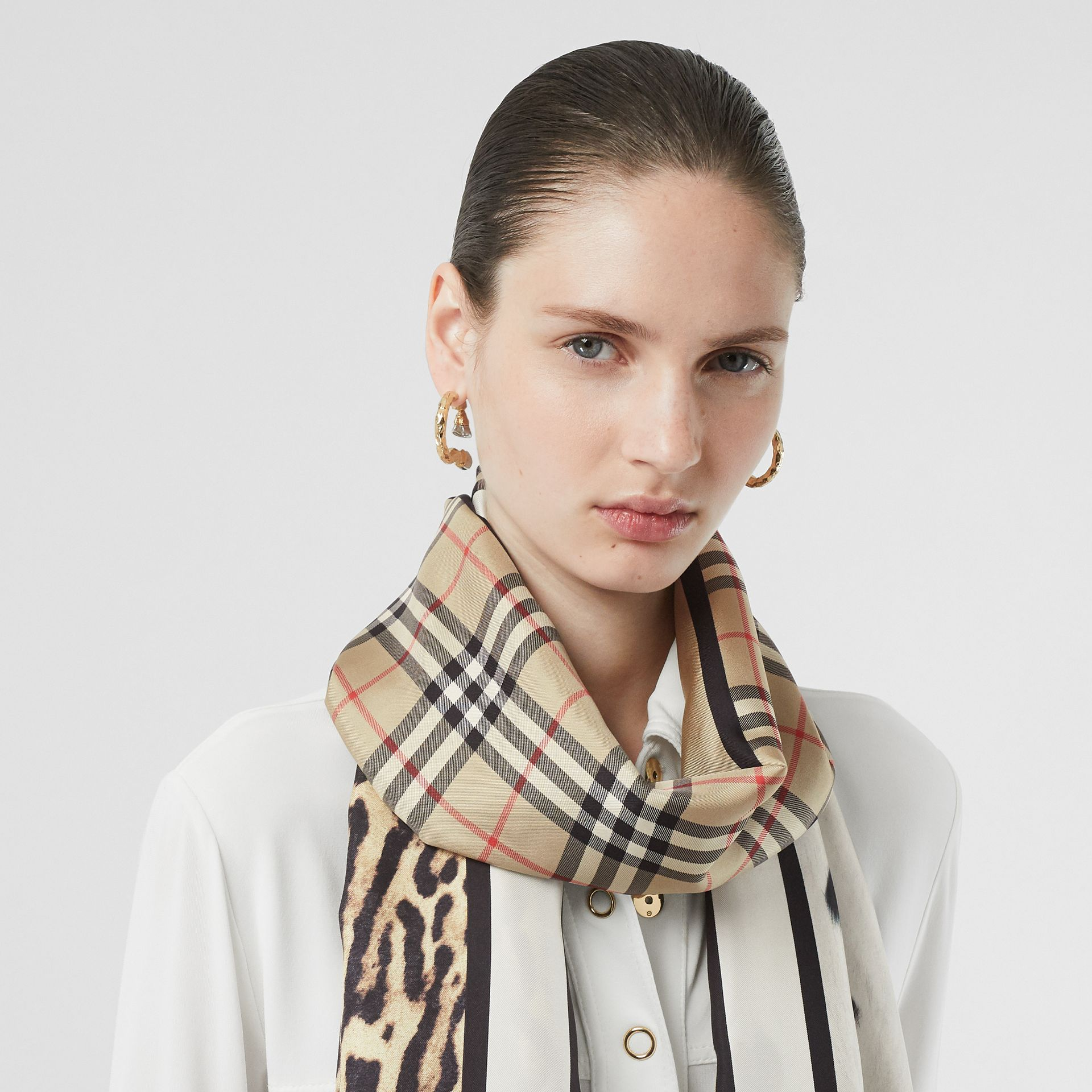 Vintage Check and Animal Print Silk Scarf in Archive Beige - Women | Burberry Australia - gallery image 2