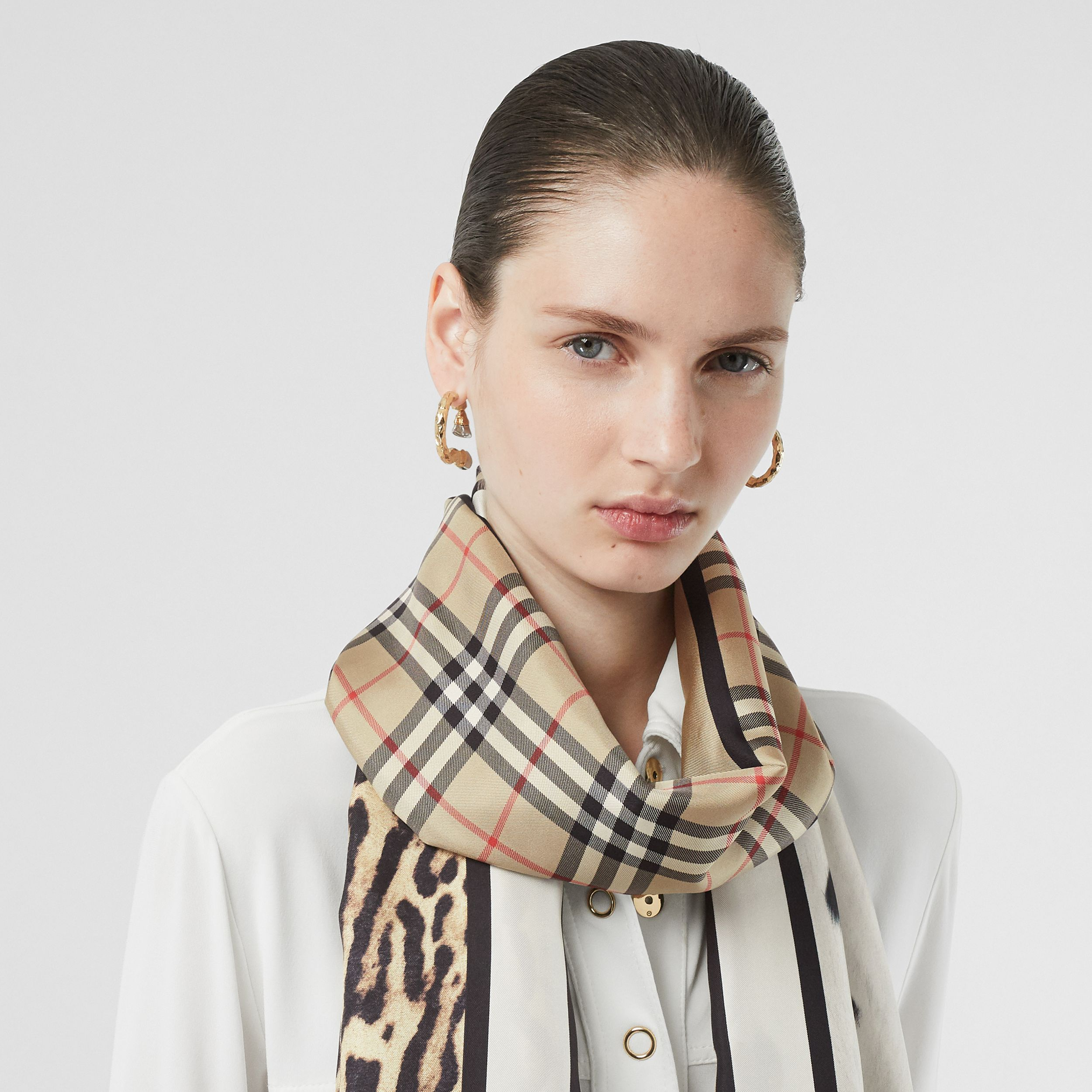 Vintage Check and Animal Print Silk Scarf in Archive Beige - Women | Burberry United Kingdom - 3