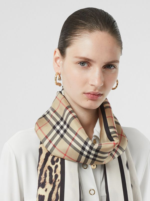 Vintage Check and Animal Print Silk Scarf in Archive Beige - Women | Burberry United States - cell image 2