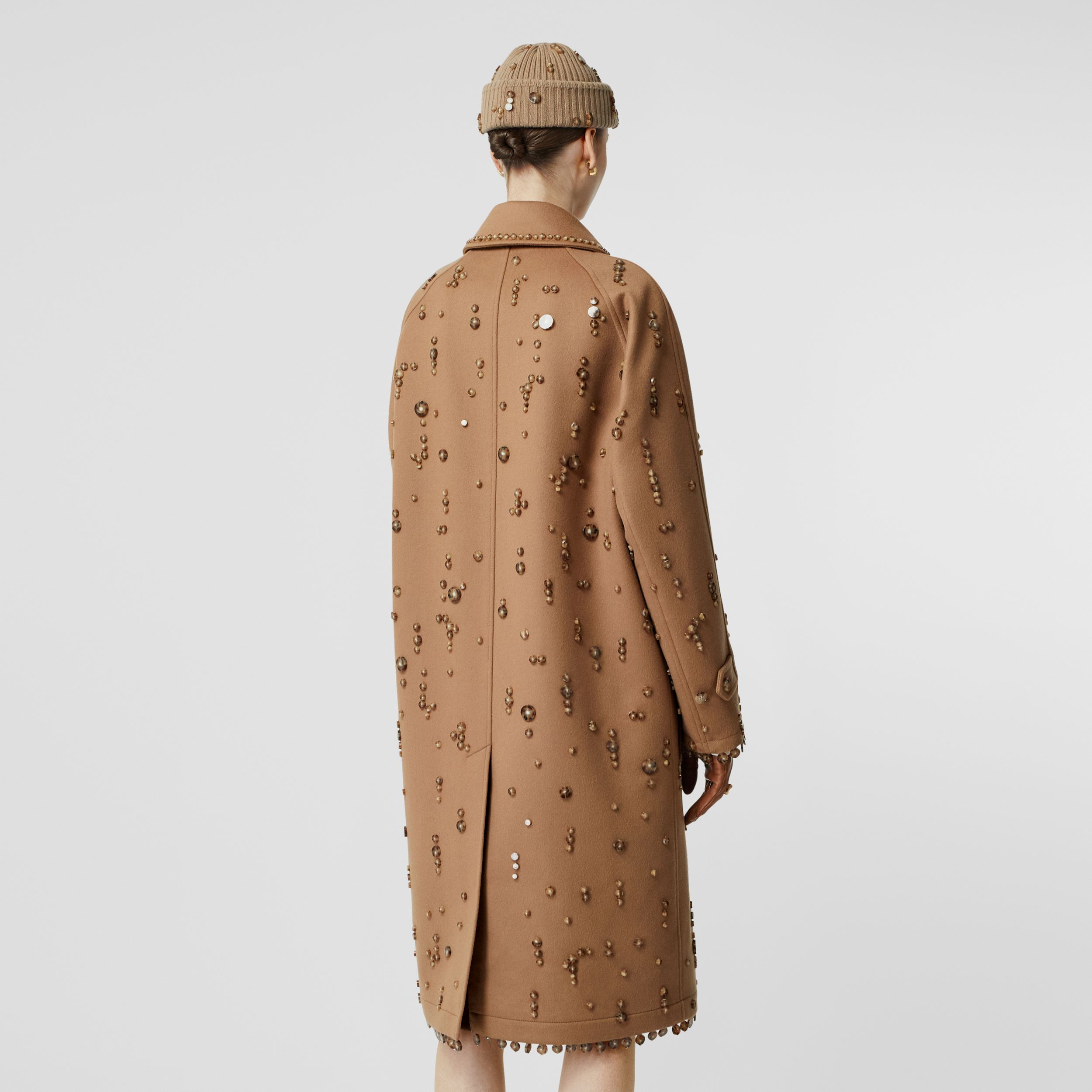 Embellished Wool Cashmere Car Coat in Camel - Women | Burberry - 3