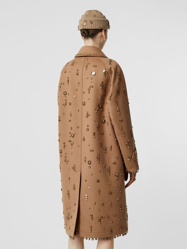 Embellished Wool Cashmere Car Coat in Camel - Women | Burberry Singapore - cell image 2