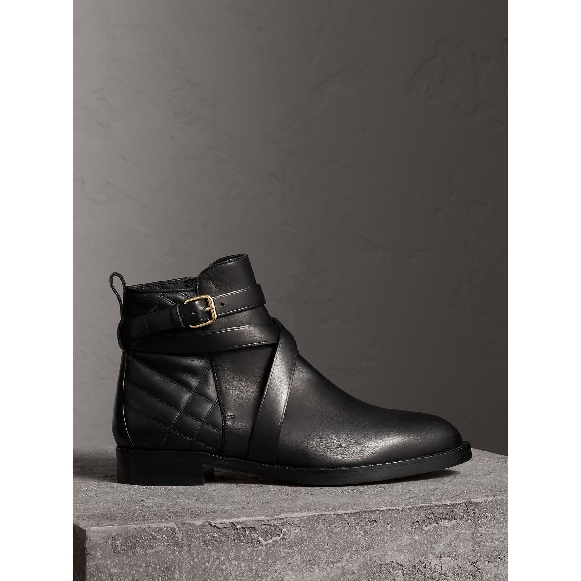 Strap Detail Quilted Leather Ankle Boots in Black - Women | Burberry Australia - gallery image 0