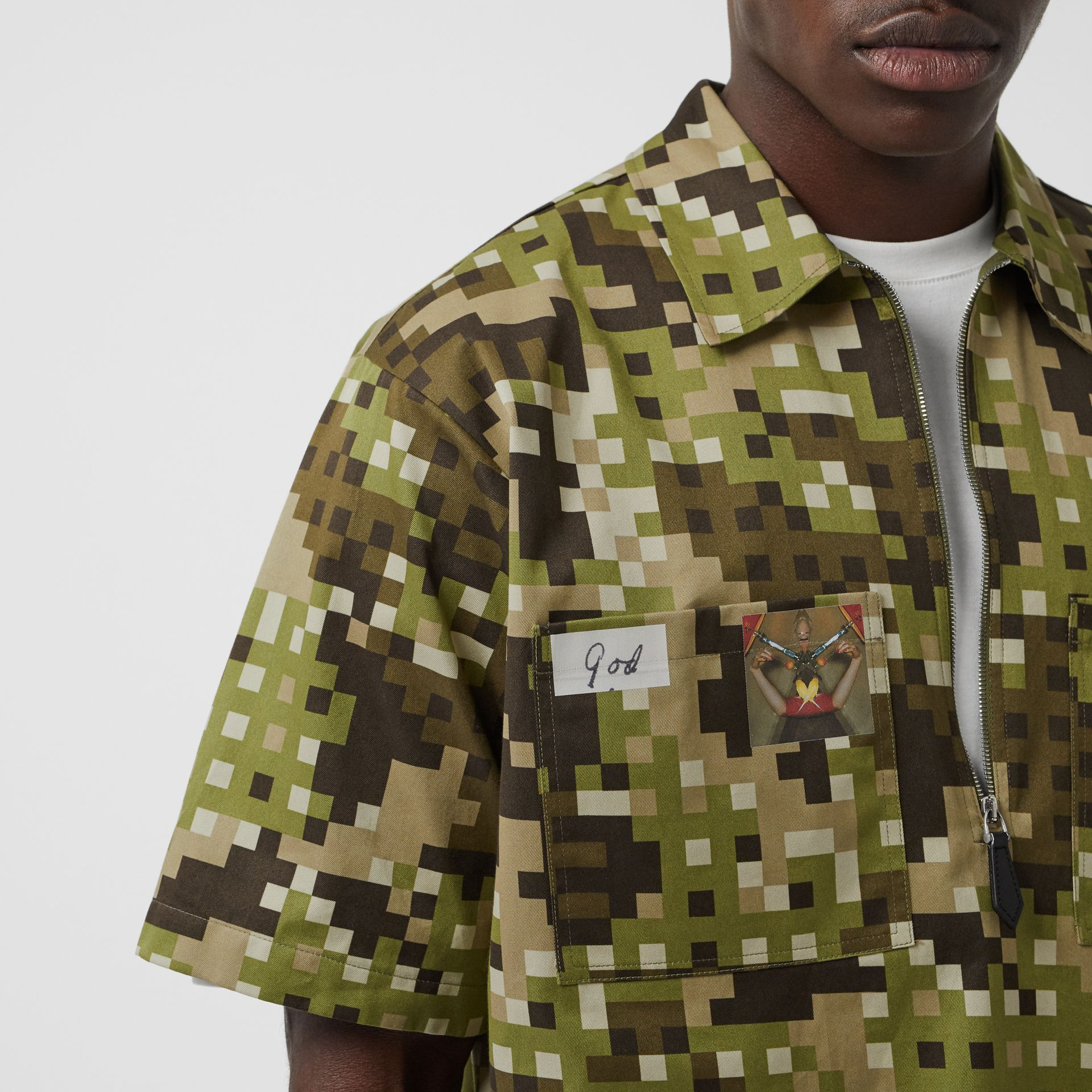 Short-sleeve Montage Print Cotton Shirt in Khaki | Burberry Australia - gallery image 7