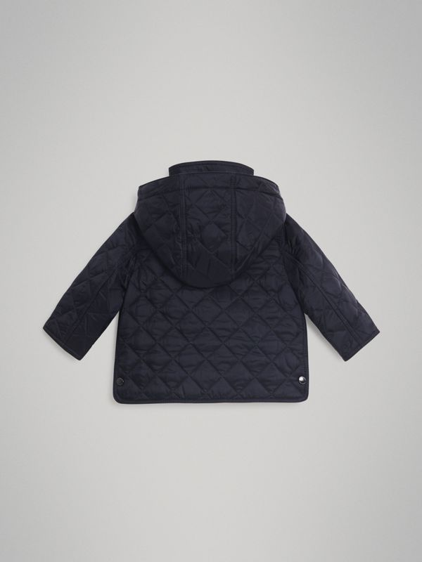 Diamond Quilted Hooded Jacket in Navy - Children | Burberry Canada - cell image 3