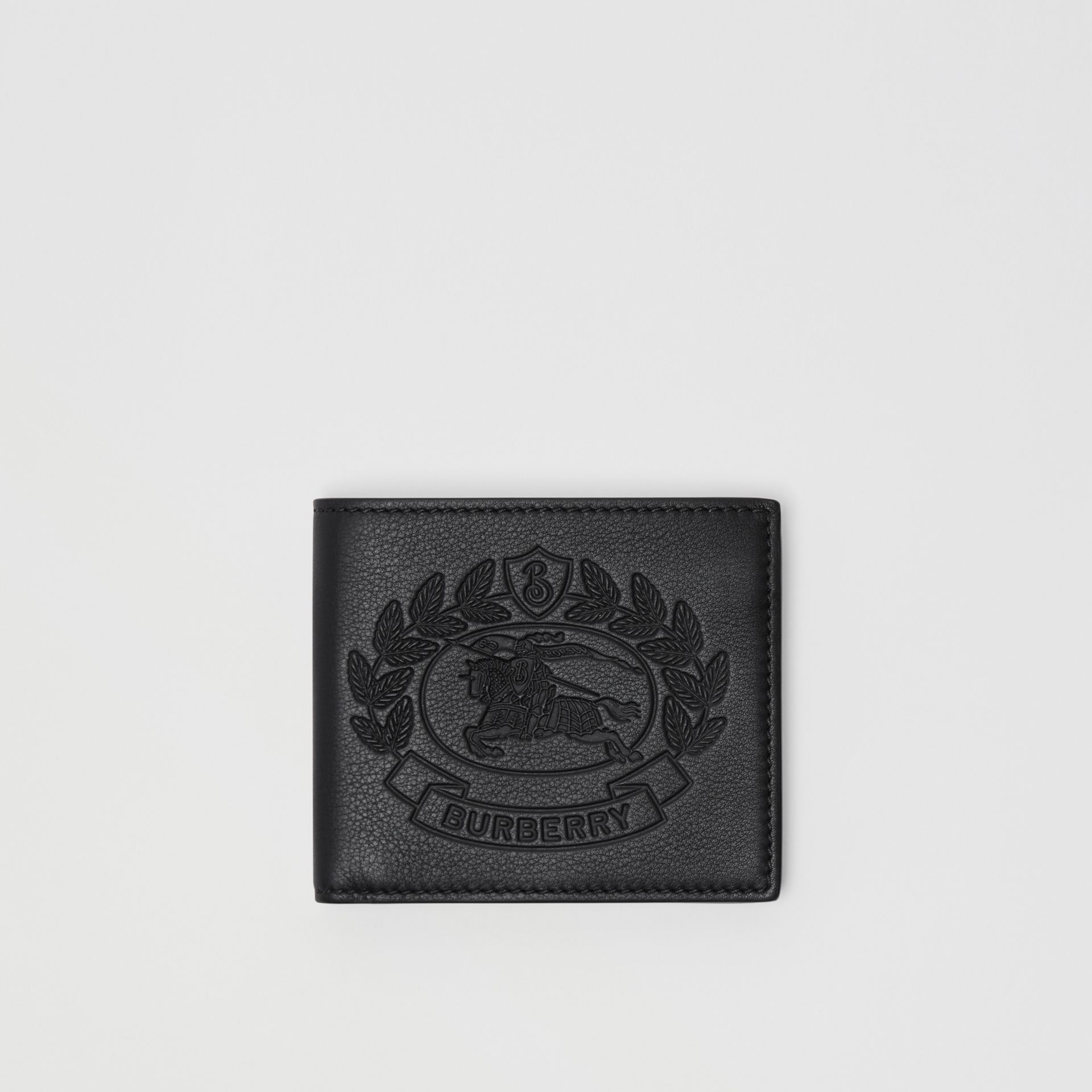 Embossed Crest Leather International Bifold Wallet in Black - Men | Burberry Canada - gallery image 0