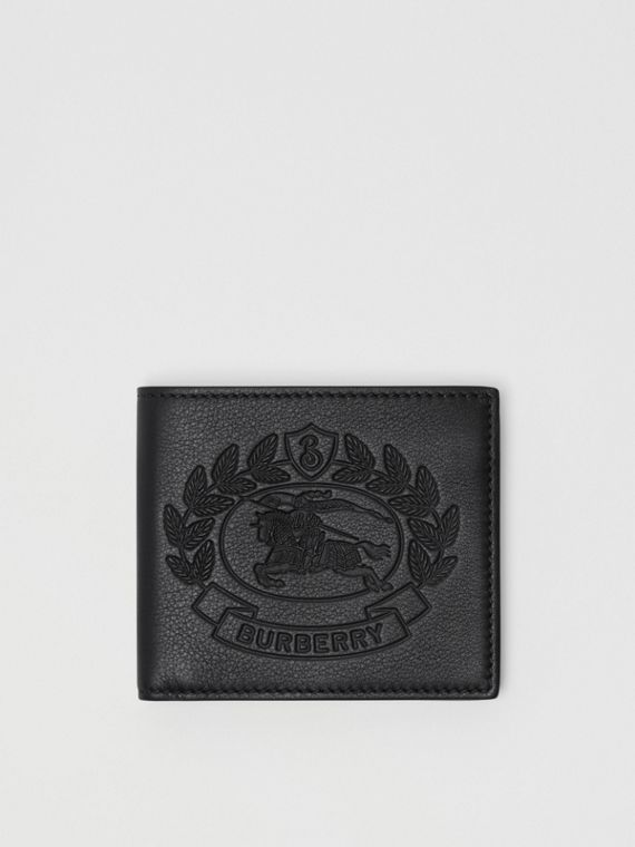 Embossed Crest Leather International Bifold Wallet in Black