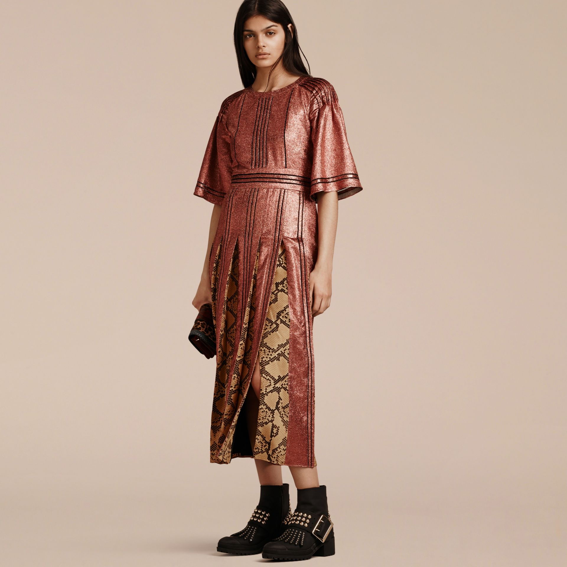 Copper rose Long Lamé and Python Print Dress Copper Rose - gallery image 6