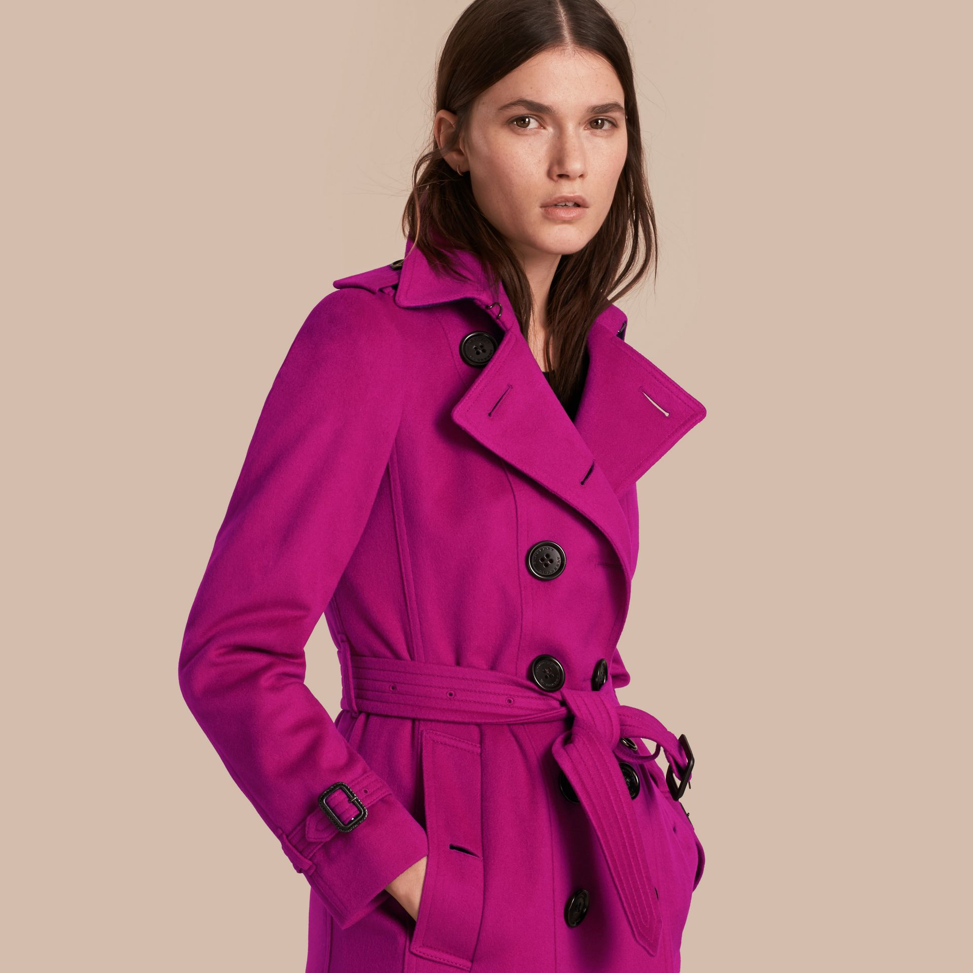 Sandringham Fit Cashmere Trench Coat Fuchsia - gallery image 1