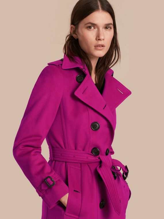 Sandringham Fit Cashmere Trench Coat in Fuchsia - Women | Burberry