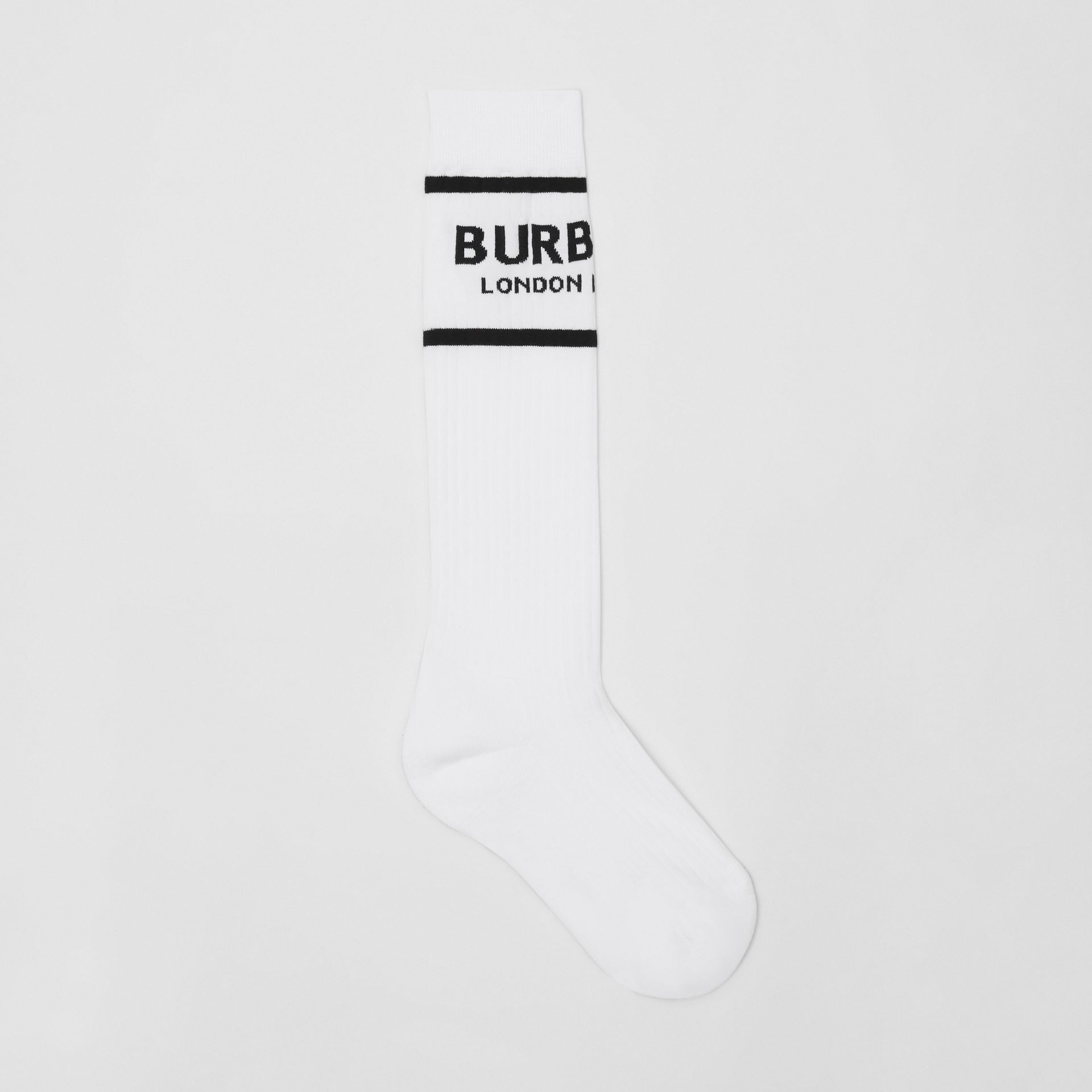 Logo Intarsia Cotton Blend Socks in White | Burberry United States - gallery image 0