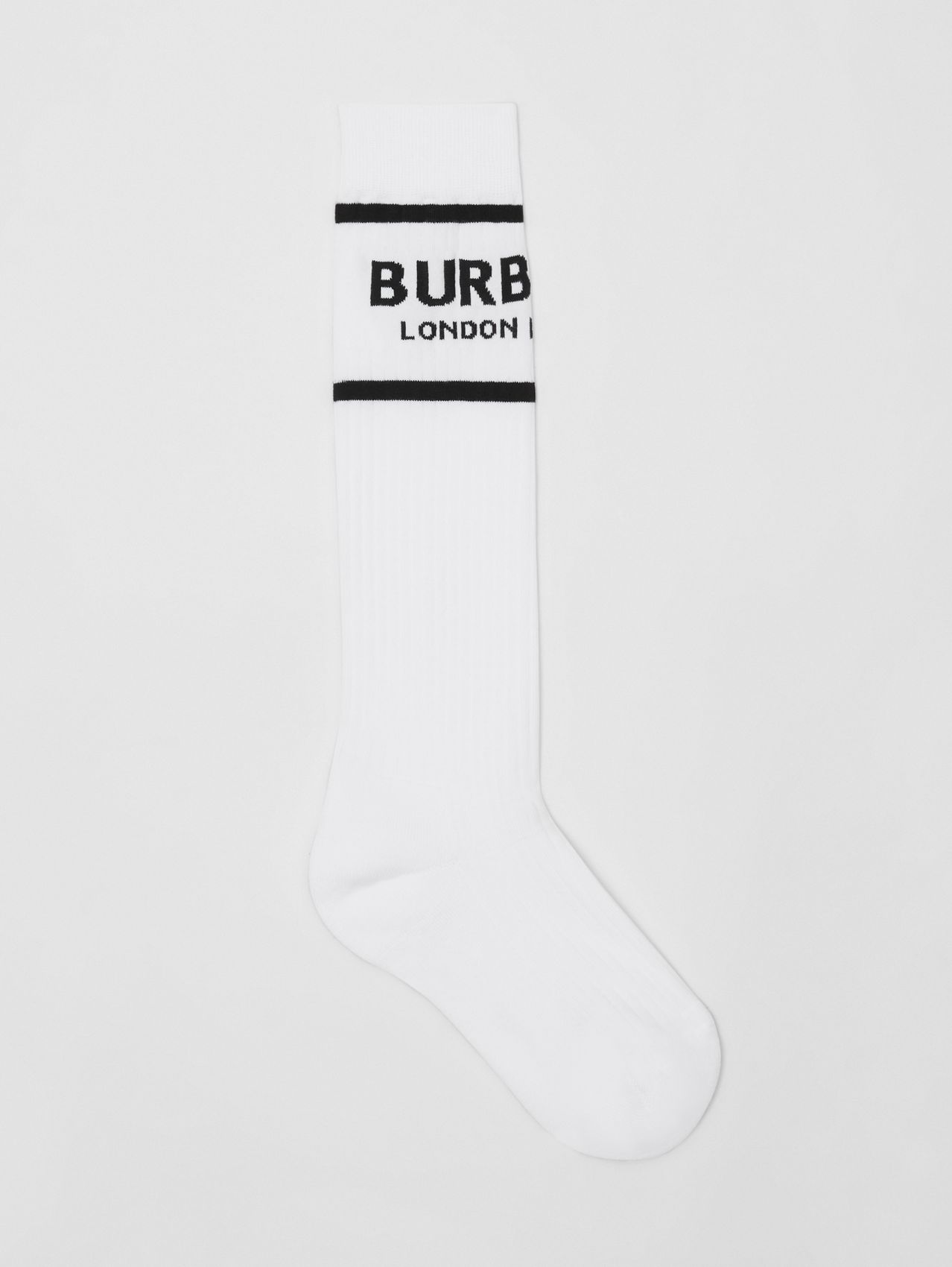 Logo Intarsia Cotton Blend Socks in White