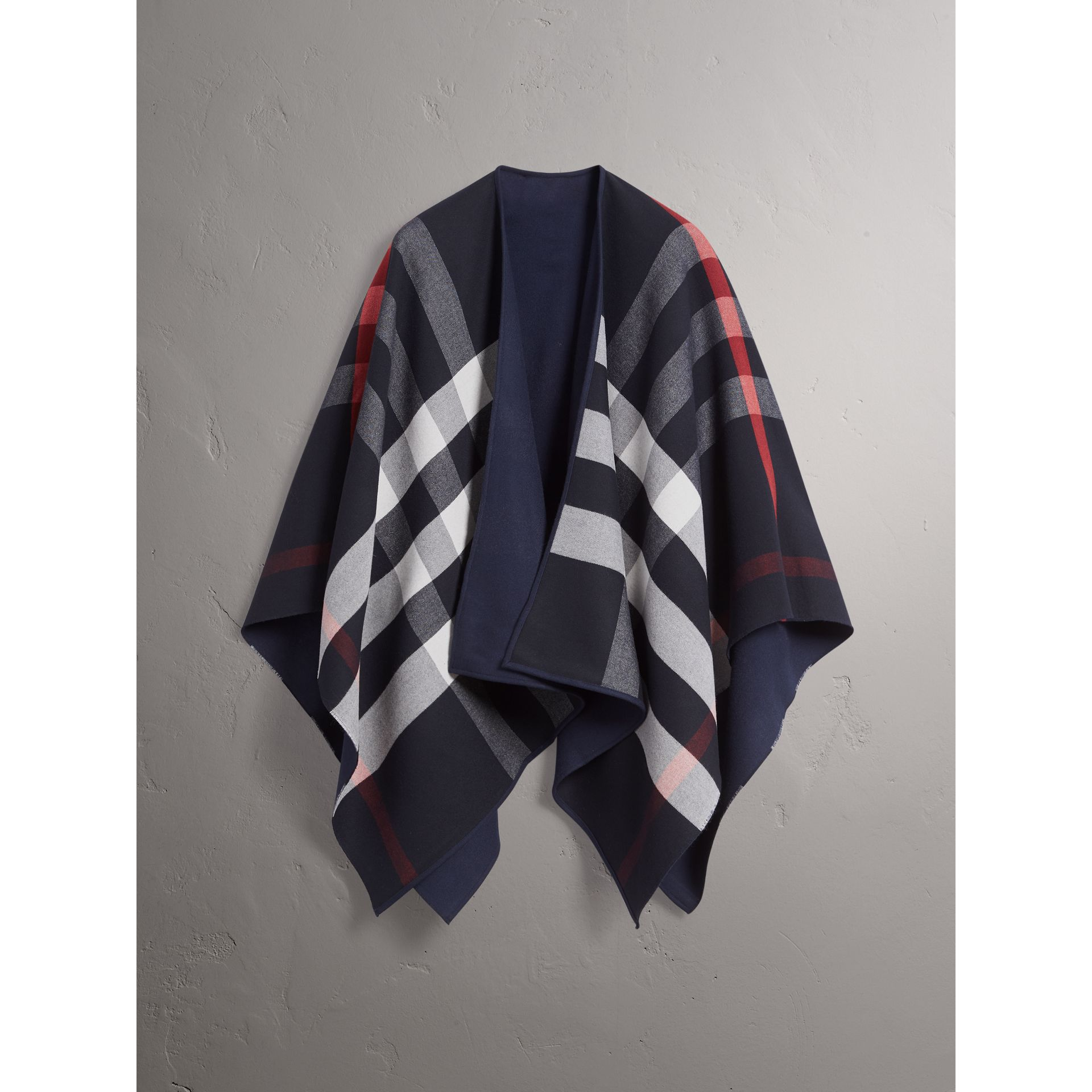 Reversible Check Merino Wool Poncho in Navy - Women | Burberry - gallery image 3