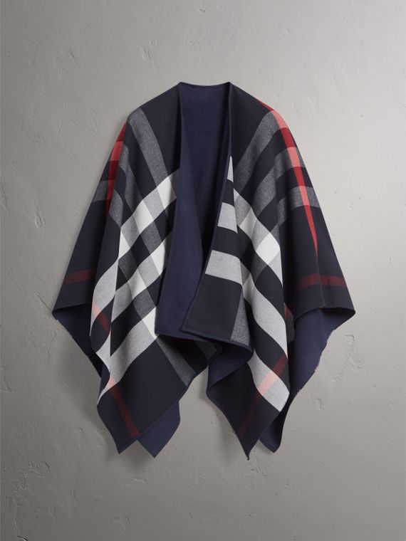Reversible Check Merino Wool Poncho in Navy - Women | Burberry - cell image 3