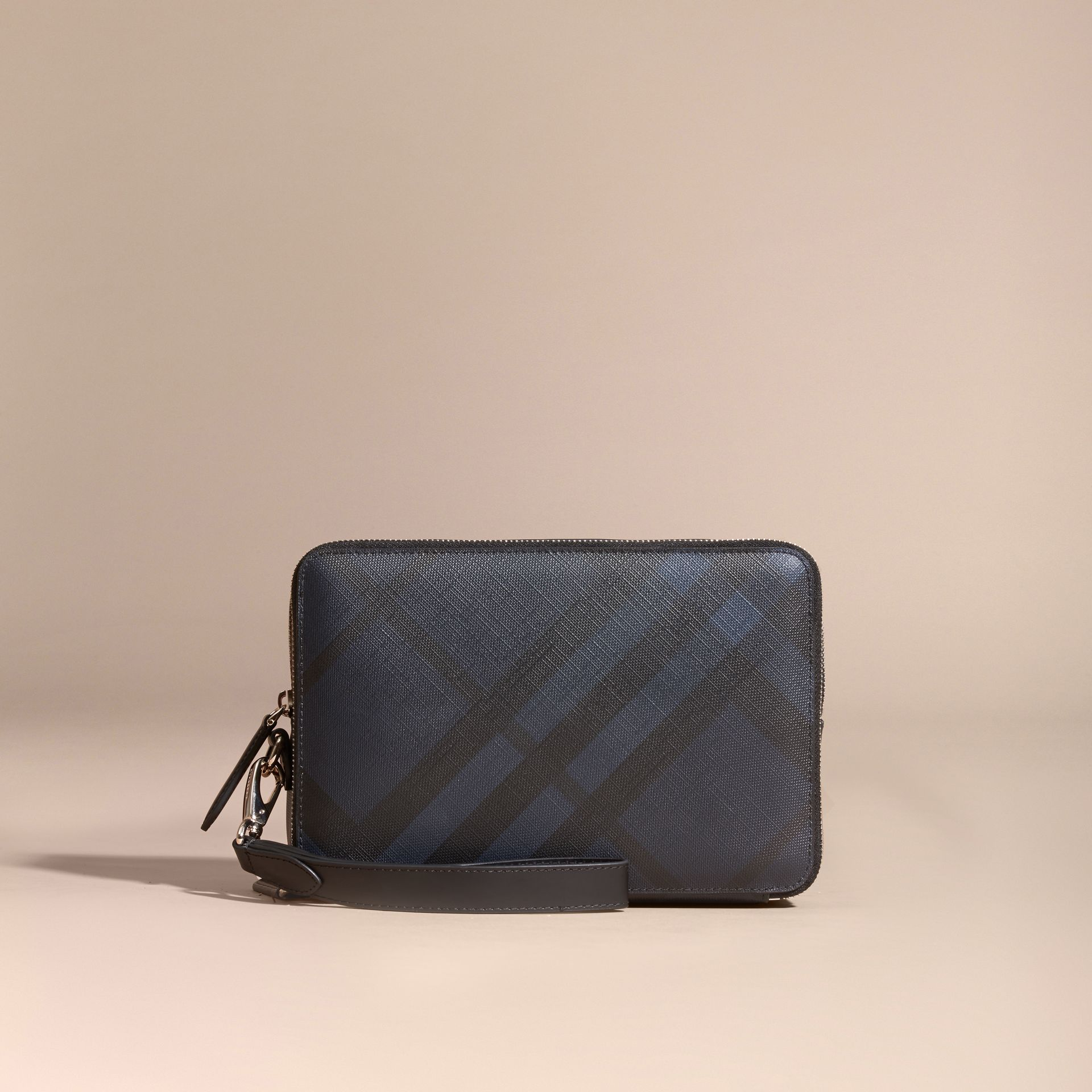 Leather-trimmed London Check Pouch in Navy/black - Men | Burberry - gallery image 6
