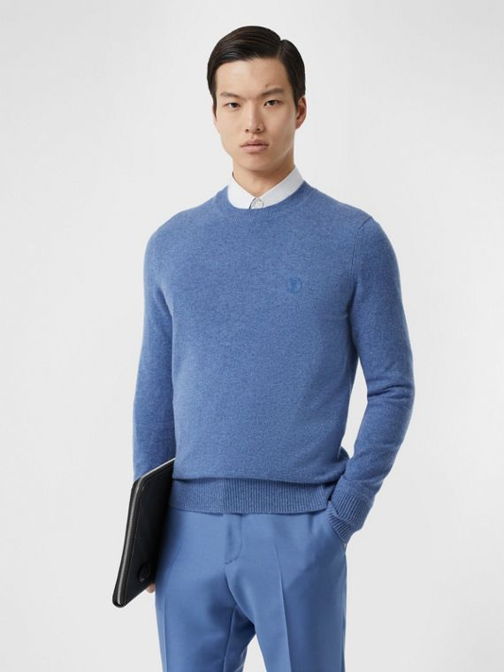 Monogram Motif Cashmere Sweater in Steel Blue Melange