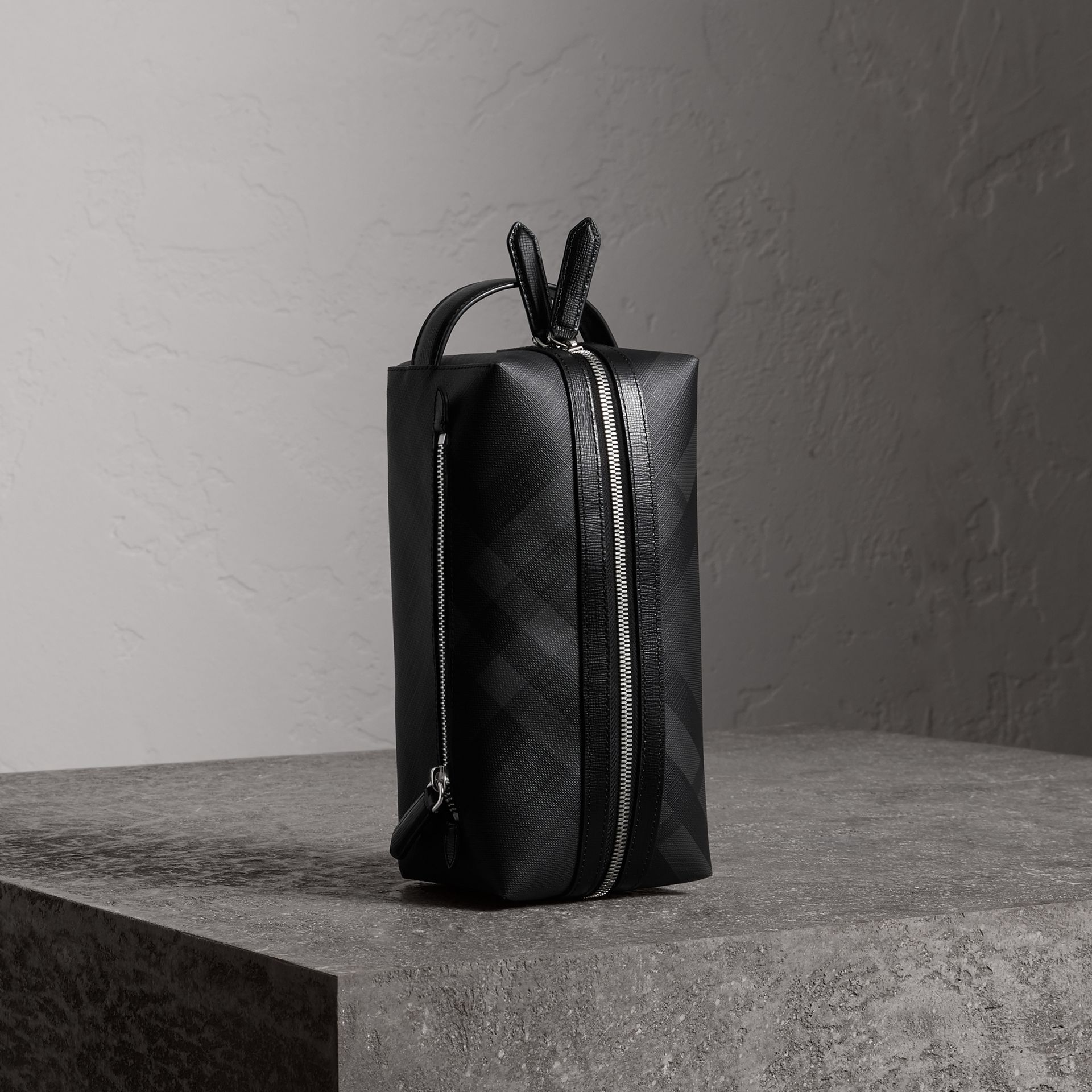 London Check and Leather Pouch in Charcoal/black - Men | Burberry - gallery image 0