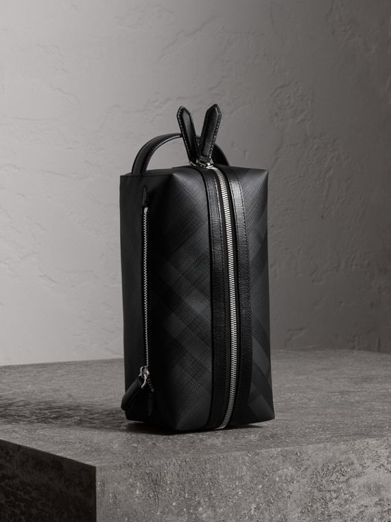 London Check and Leather Pouch in Charcoal/black