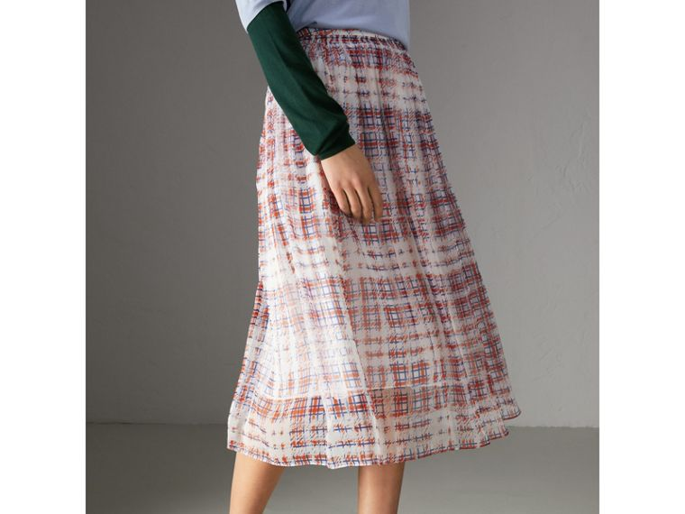 Scribble Check Print Silk Skirt in Military Red - Women | Burberry Canada - cell image 4