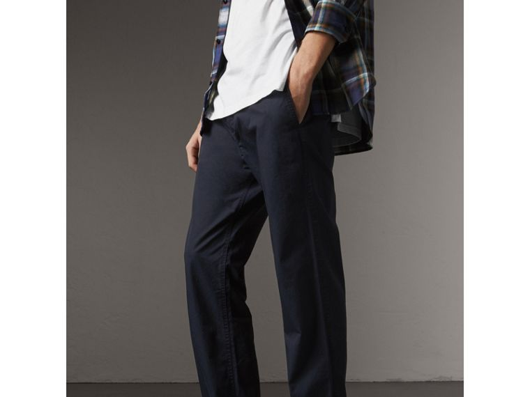 Straight Fit Cotton Chinos in Ink - Men | Burberry - cell image 4