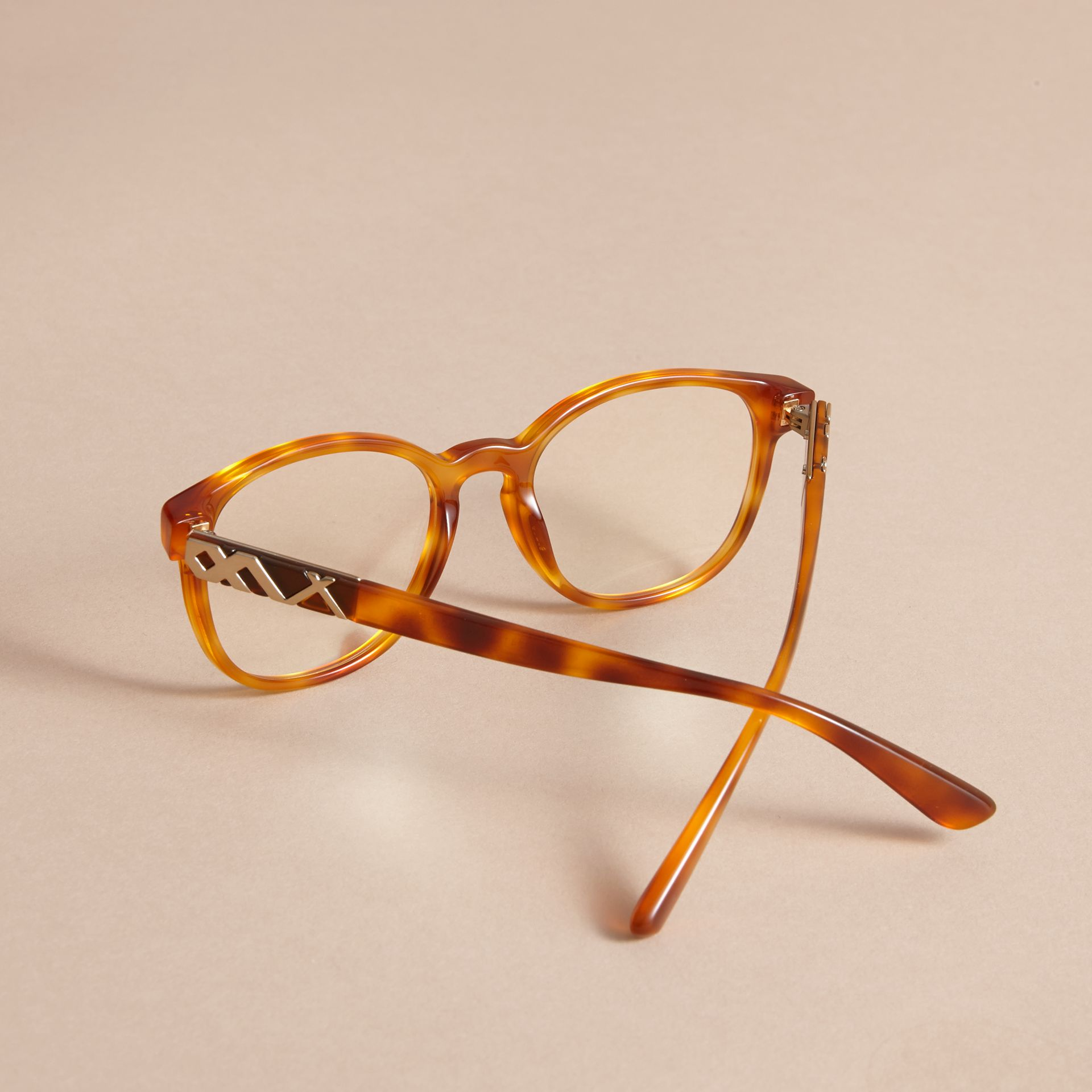Check Detail Round Optical Frames Amber - gallery image 4
