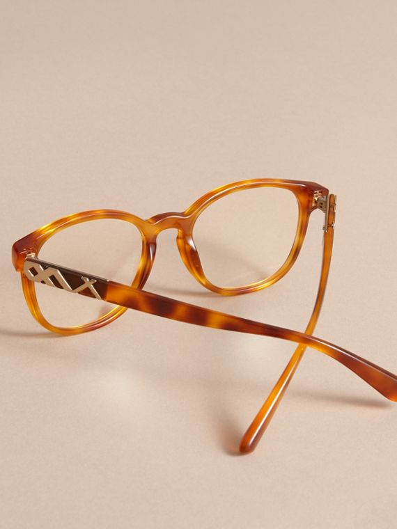 Check Detail Round Optical Frames Amber - cell image 3