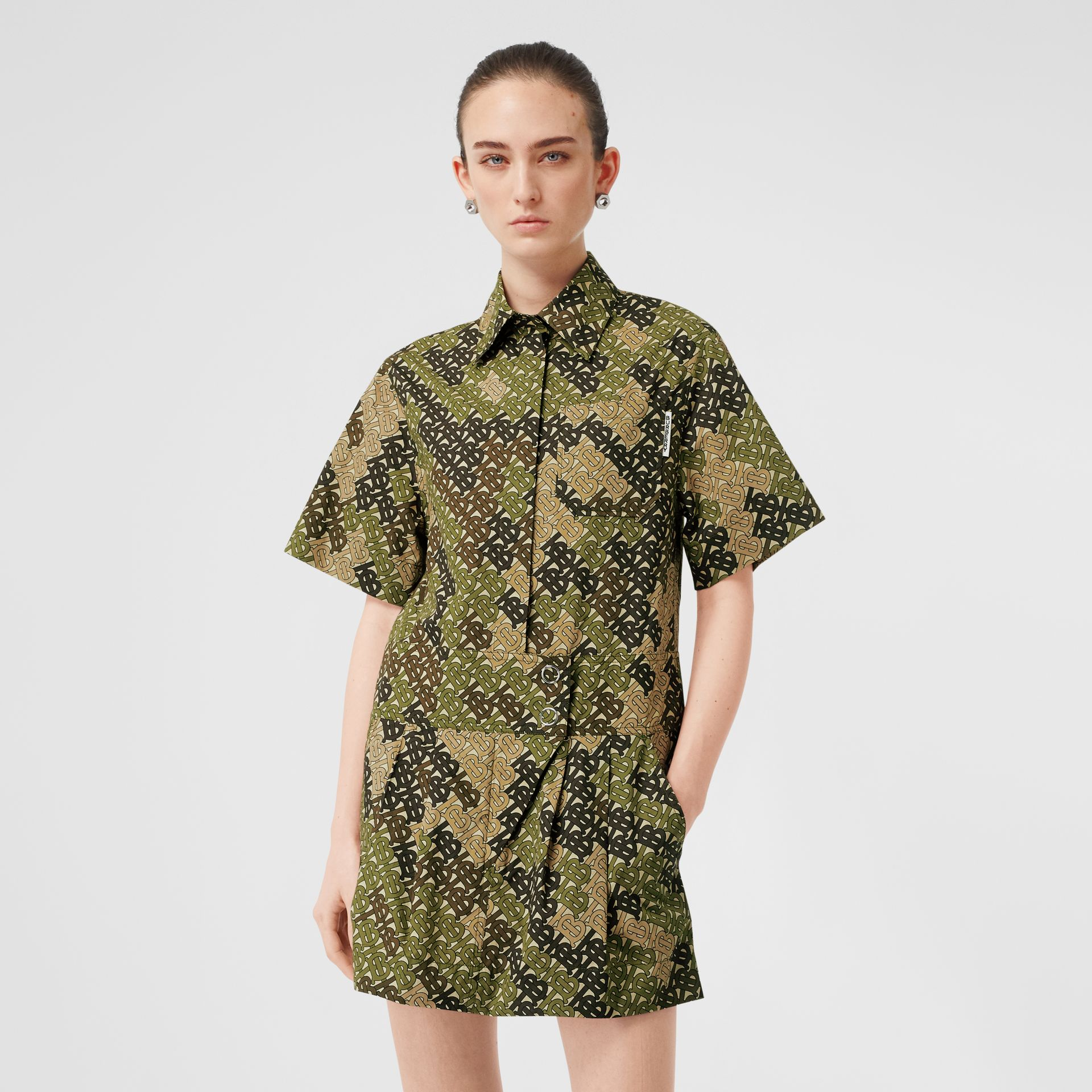 Short-sleeve Monogram Print Shirt Dress in Khaki Green - Women | Burberry Australia - gallery image 0