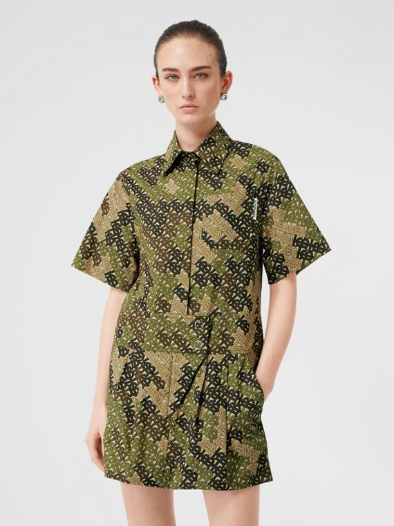 Short-sleeve Monogram Print Shirt Dress in Khaki Green