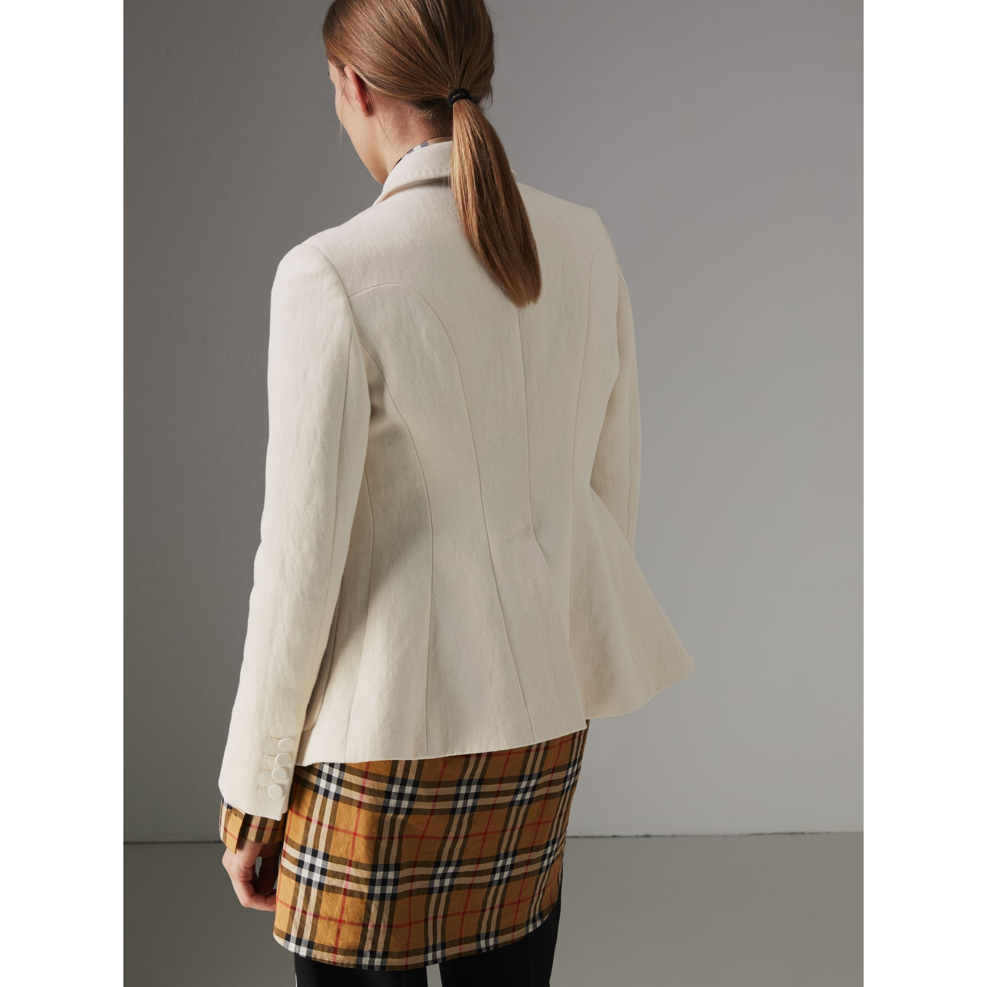 Cotton Linen Fitted Jacket in Off White - Women | Burberry - gallery image 2