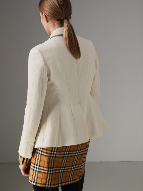 Cotton Linen Fitted Jacket in Off White - Women | Burberry Singapore - cell image 2
