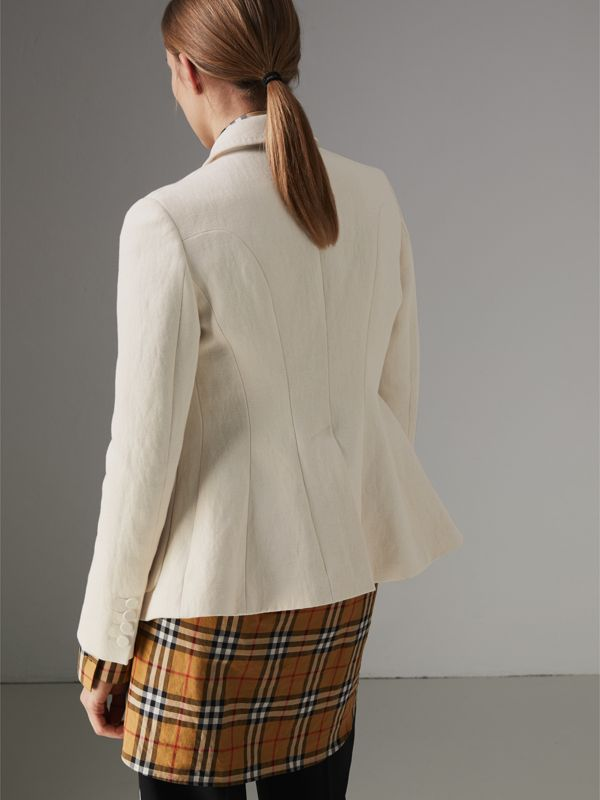 Cotton Linen Fitted Jacket in Off White - Women | Burberry - cell image 2