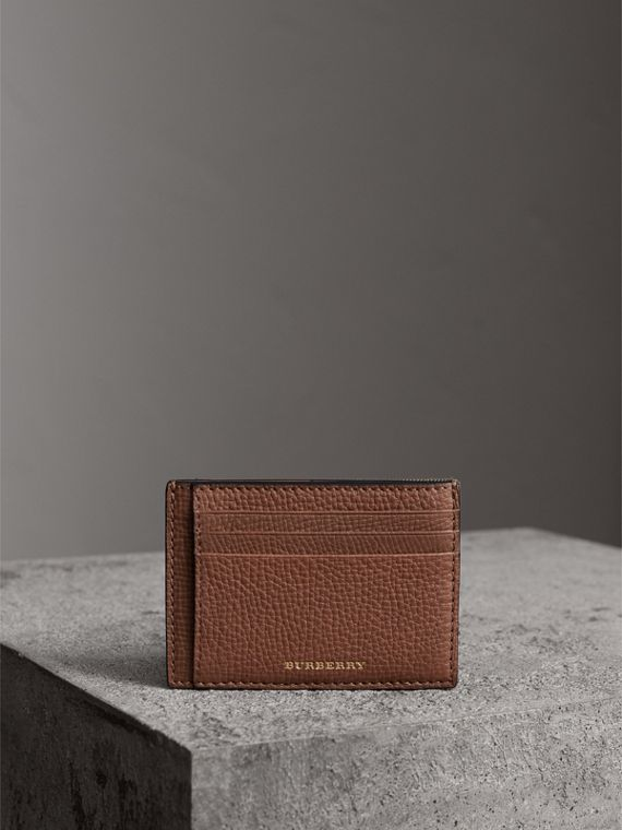 House Check and Leather Money Clip Card Case in Chestnut Brown - Men | Burberry United States - cell image 3