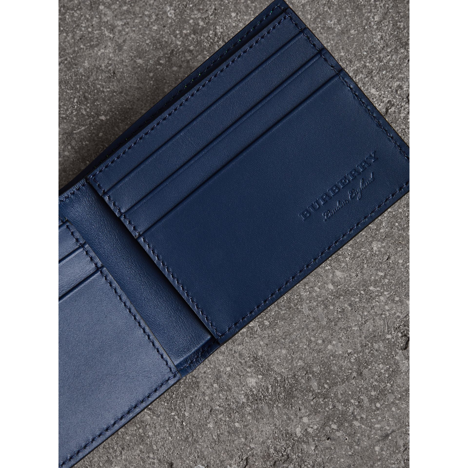 Haymarket Check and Leather Bifold Wallet in Bright Yellow | Burberry United States - gallery image 3