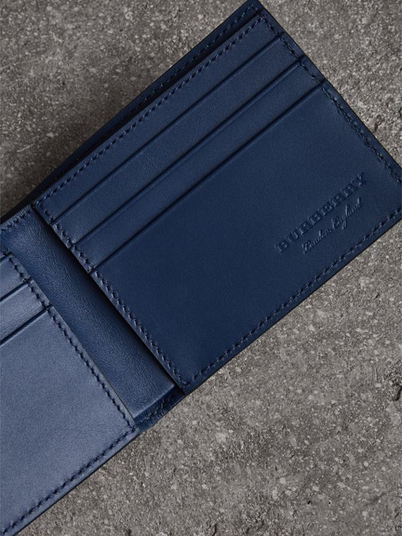 Haymarket Check and Leather Bifold Wallet in Bright Yellow | Burberry United States - cell image 3