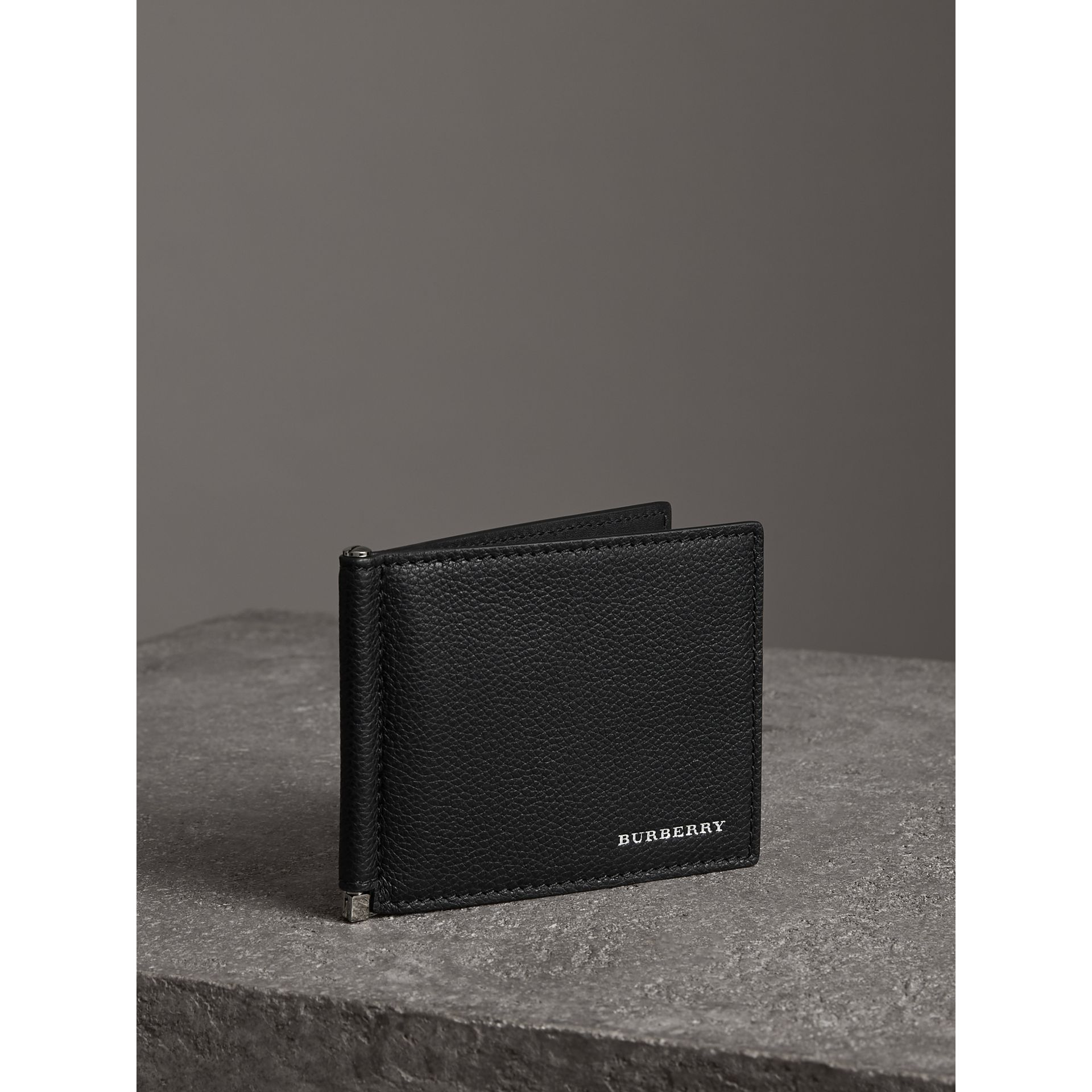 Grainy Leather Money Clip Card Wallet in Black - Men | Burberry Australia - gallery image 4