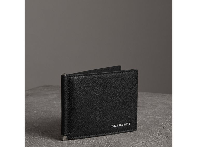 Grainy Leather Money Clip Card Wallet in Black - Men | Burberry - cell image 4